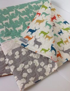 Organic Baby Boy Quilt Gray and Pool BlueGreen ideas for knoxxs bed