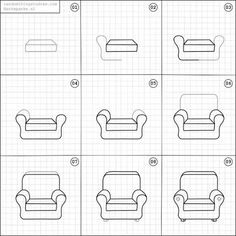 How to draw a comfy chair.