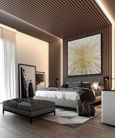 Industrial interior design is the epitome of the modern apartment look for If you aren't considering this style then you are just missing out on an awesome décor change. Master Bedroom Interior, Luxury Bedroom Design, Modern Master Bedroom, Bedroom Bed Design, Home Interior, Luxury Interior, Bedroom Designs, Bedroom Art, Cozy Bedroom