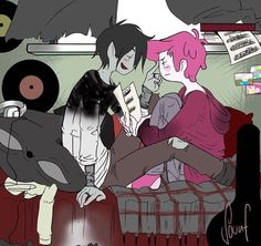 adventure time | marshall lee the vampire king x prince gumball | gumlee