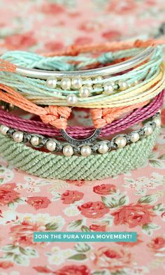 Love this mint and coral bracelet stack.