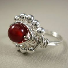 Wire Wrapped Ring Carnelian and Sterling Silver ♥ by holmescraft, $25.00