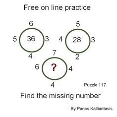 Brain teasers and puzzles: Puzzle 117-Free on line practice Math Lesson Plans, Math Lessons, Missing Number, Brain Teasers, Puzzles, Line, This Or That Questions, How To Plan, Collection