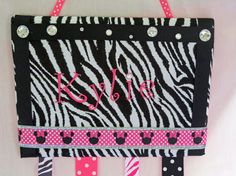 Personalized Hair Bow Holder - Zebra - Hot Pink - Bling - Minnie Mouse - Monogrammed - Room Decor