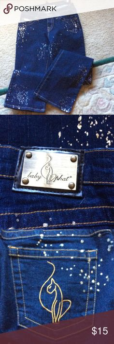 Baby Phat jeans Very cute and fun. Size 5. Splashed with silver and gold, boot cut jeans. Perfect for dress up or just relaxed. Baby Phat Jeans Boot Cut