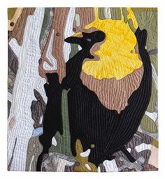 "Yellow-headed Blackbird, 40 x 36"", by Sandra Poteet.  Wildlife Fabrications exhibit, SAQA."