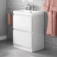 Denver II Gloss White Built In Basin Drawer Unit - Floor Standing Small Bathroom Sink Vanity, Bathroom Basin Units, Sink Vanity Unit, Loft Bathroom, Bathroom Ideas, Bathroom Cabinets, Bathroom Things, Bathroom Drawers, Family Bathroom