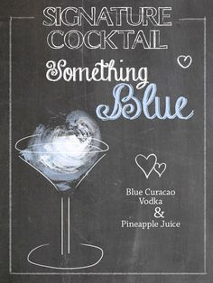 Signature cocktails for the wedding ♥ chalk illustration ♥ something blue . Blue Curacao, Blue Drinks, Cocktail Drinks, Tequila Sunrise, Bridal Shower Menu, Bridal Showers, Wedding Food Menu, Wedding Ideas, Wedding Blog