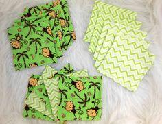 Cloth Wipes, Washcloths, Burp Cloths, Handkerchiefs, Dust Cloths Set of 15 in  Green Chevron