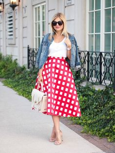 8.15 gingham (GAP denim jacket + Aritzia tee + Urban Outfitters layering necklace set + ChicWish skirt + Stuart Weitzman heels + Gigi NY satchel + Karen Walker sunnies + The Horse watch)