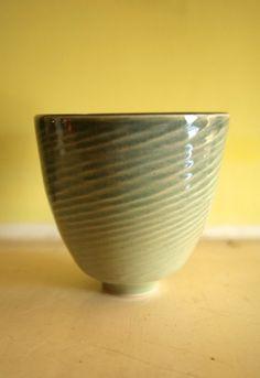 Tall Textured Celadon Green Bowl / WheelThrown Art by LeiliDesign, $70.00