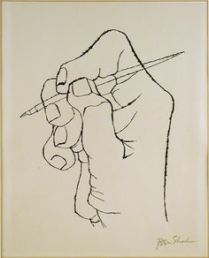Artwork by Ben Shahn, The First Word of Verse Arises from the Rilke Portfolio, Made of Lithograph on Richard de Bas Louise Bourgeois, Line Drawing, Painting & Drawing, Drawing Style, Drawing Tips, Ben Shahn, Pix Art, Ligne Claire, Art Sketchbook