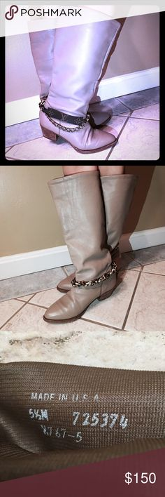 Nude L V COWBOY Bootie SZ 5.5 made in USA Used but in excellent condition! With the decertification on the ankles!the boots is genius leather very soft and comfy! Not authentic! The decertification is handmade! Louis Vuitton Shoes
