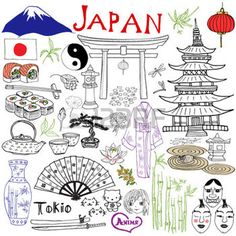 Japan doodles elements. Hand drawn set with Fujiyama mountain, Shinto gate, Japanese food sushi and tea set, fan, theater masks, katana, pagoda, kimono. Drawing doodle collection, isolated on white photo