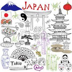 Japan doodles elements. Hand drawn set with Fujiyama mountain, Shinto gate, Japanese food sushi and tea set, fan, theater masks, katana, pagoda, kimono. Drawing doodle collection, isolated on white photo