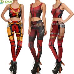 Superhero Cosplay Deadpool Yoga Sets Sports Vests + Running Pants Sports Set Deadpool Costume Women Sports Crop Top Gym Leggings //Price: $21.95 & FREE Shipping //     #jeggings #leggings