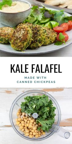Add kale to your falafel to make them green, healthier and more nutritious. For these falafel we're using canned chickpeas and pan-frying them in the pan. Kale Recipes Vegan, Delicious Vegan Recipes, Veggie Recipes, Vegan Vegetarian, Whole Food Recipes, Cooking Recipes, Healthy Recipes, Recipes With Kale, Cooked Kale Recipes