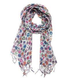 Look at this #zulilyfind! Gray Floral Tassel Scarf by East Cloud, $10 !!  #zulilyfinds