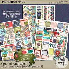 "Secret Garden ""Planner Stickers & Tapes"" by Paty Greif Printable Planner, Planner Stickers, Printables, Garden Planner, Digital Scrapbooking, Make It Yourself, Binder, Day, Prints"