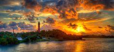 Jupiter Lighthouse Sunrise Panorama fire in the sky