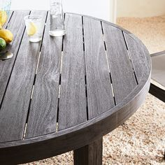 Portside Outdoor Round Dining Table - Weathered Café