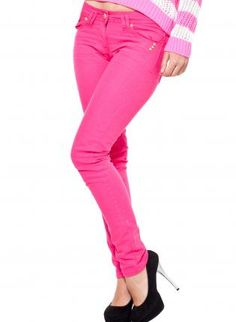 Bright Pink Skinny Jeans,  Bottoms, colored jeans  skinny jeans, Casual