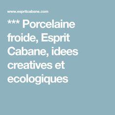 *** Porcelaine froide, Esprit Cabane, idees creatives et ecologiques