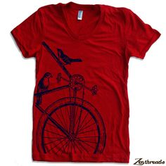 Womens SPARROW BIKE T Shirt American Apparel S M L XL (14 Colors Available)