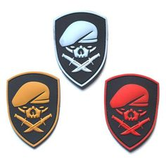 [Visit to Buy] 1 PC Skull Berets Special Forces 3D PVC Patch Beret Soldier Morale Military Armband Tactical Badge 7*8.5CM #Advertisement