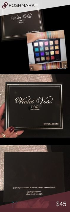 Violet Voss Drenched Metal Pro Palette A collection of 20 highly pigmented eyeshadows that are housed within a mirrored palette. Drenched Metal Eyeshadow Palette features 19 metallic hues & one matte nude base color that can be used to create an array of dimensional styles and looks. The blendable consistency works smoothly over the skin and boasts longevity without fading or becoming heavy.  NO longer available. 100% authentic. Never been used or swatched. Opened for pics only. (Swatch pic…
