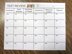 Test review- game idea...EVERY student tries to answer EVERY review question (nice form for those Smart Board Jeopardy review games)