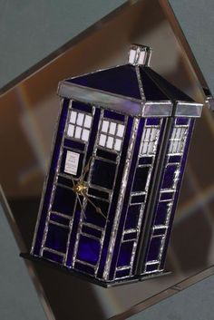 Stained Glass TARDIS Clock