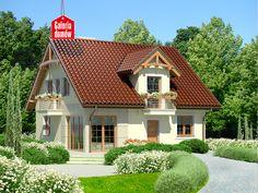 Dom przy Wiosennej 5 jest wariantem projektu nie zawierającym garażu co pozwoliło na redukcję kosztów budowy, ale też nie wpłynęło negatywnie na program mieszkalany. Nowoczesne wnętrze zawiera układ pomieszczeń dostosowany do lokalizacji domu na działkach z wejściem od strony: południowej, południowo-wschodniej i w odbiciu lustrzanym od południowo-zachodniej. Cabin Design, Home Fashion, Cottage, Mansions, House Styles, Dream Homes, Home Decor, Rustic Homes, Chalets