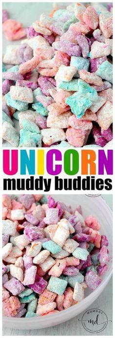 Unicorn Poop Muddy Buddies: Easy Chex Mix Muddy Buddy Recipe for a rainbow unicorn treat, fun, quick, easy!