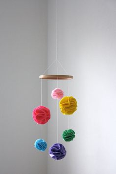 mobile- make this using shower sponges from the dollar tree. dye them to get the colors you want