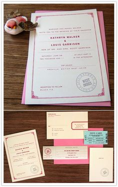 Kind of a vintage/travel fusion. Pink Invitations, Invitation Paper, Wedding Invitations, Invitation Ideas, Paper Cup Design, Event Planning, Wedding Planning, Wedding Cups, Love Design