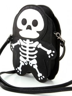 Vinyl Sleepyville Critter Skeleton Cross Body (Black) #InkedShop #skeleton #bag #crossbody #bones #b2s #backtoschool