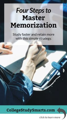 Education Discover Four Steps to Master Memorization - College Study Smarts Four steps to master memorization. Study faster for exams and retain more with this simple study strategy. Exam Study Tips, School Study Tips, Study Skills, Study Habits, Study Techniques, Study Methods, Importance Of Time Management, Speed Reading, Study Motivation