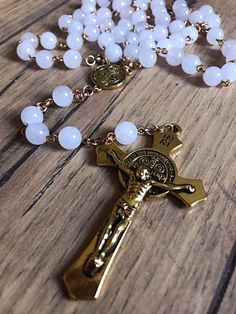 Excited to share this item from my shop: Handmade snow quartz rosary 14k Gold Necklace, Pendant Necklace, Rosary Beads, Prayer Beads, Butterfly Pendant, Religious Jewelry, Fashion Necklace, Wedding Jewelry, Quartz