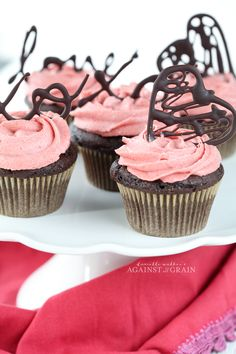 Chocolate cupcakes with strawberry frosting - grain free, nut free, dairy free cupcakes - against all grain