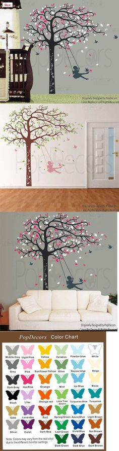 Custom Color PopDecors - Girl Plays Swing - Free Squeegee and color change - custom wall art nursery wall decor sticker tree vinyl baby gift idea, Free Squeegee. Shipped directly from PopDecors. Free custom change to your need. High quality product, creates hand painted look on your wall. [Size] Tree : 94 (240 cm) H * 95( 244 cm) W[Default Col..., #Baby, #Wall Stickers & Murals