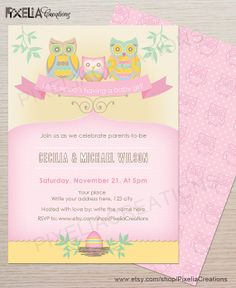 Pink Owl Baby Shower Invitation for Baby Girl. by PixeliaCreations, $15.00