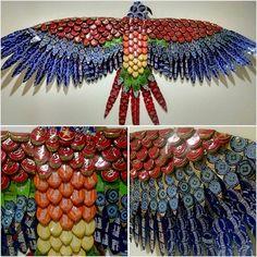 bottle cap art - bottle bird