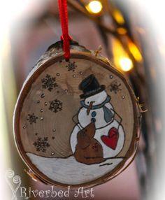 Christmas Pyrography Snowman and Dog Ornament