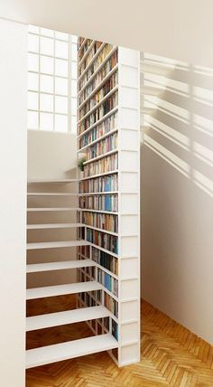 STAIRS Unique steel staircase with integral library by Design+Weld Interior Stairs, Interior Architecture, Interior Design, Stair Bookshelf, Bookshelves, Stair Storage, Book Storage, Storage Ideas, Home Libraries