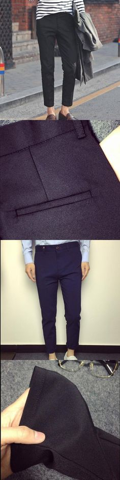New 2017 Spring Summer Black Men Casual Pencil pants Ankle-Length pants Teenager Slim Fit City Students harlan Trousers 28-34