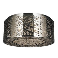 Decorate your home with this stylish brass and crystal light featuring an elegant chrome finish. This illuminating update adds a unique and functional design to any home. Measures 20 inches deep x 8 inches high. Round shape large size flush mount.