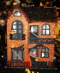 Halloween Village Display / Halloween Haunted House / via Christmas Traditions - Halloween Haunted House - Paper, Glitter & Tinsel