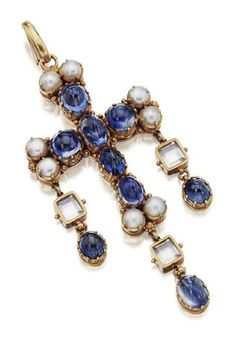 RENAISSANCE-REVIVAL GOLD, SAPPHIRE, PEARL AND ROCK CRYSTAL PENDANT, CIRCA 1830. Designed as a cross set with oval and round cabochon sapphires, the terminals decorated with pairs of split pearls, within gold mountings chased with garlands and hearts and accented with  beadwork clusters, supporting three flexible fringes of rectangular rock crystals and cabochon sapphires. With fitted leather box stamped D.L. Lavender, 26 Conduit Street, London.