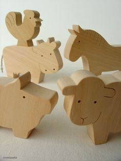Barnyard Farm Animals - Farm Animal Set - Waldorf Wooden Toys - Handmade Wooden…
